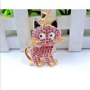 Jewelry - Pink Crystal Cute Cat Necklace